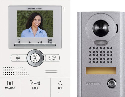 Aiphone Jks-1Aedv Audio/Video Intercom Set With Picture Recording For Single Door, Surface-Mount Vandal-Resistant Door Station front-344136