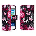 32nd® Designer book wallet PU leather case cover for Samsung Galaxy S3 Mini (S iii Mini) i8190 + screen protector and cloth - Gerbera