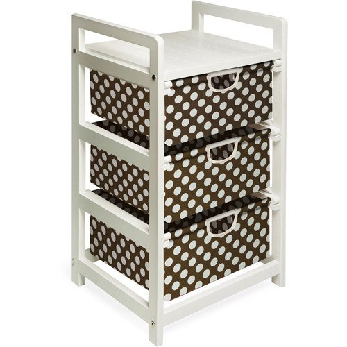 Badger Basket - White Three Drawer Hamper/Storage Unit , Brown Polka Dots (3 Drawer Hamper Storage Unit compare prices)