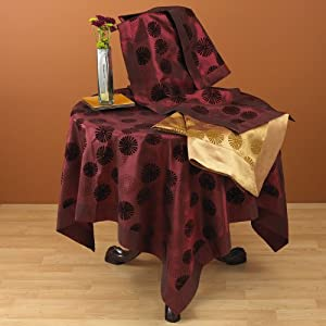 Flocked And Printed Kaleidoscope Design Tablecloth. 100% Polyester Woven. Raspberry, 60 Inch Square. One piece .