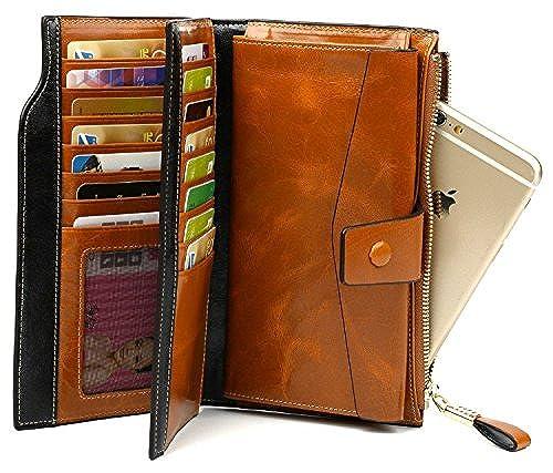 09. Grebago Women's Genuine Leather Wallets Long Zipper Clutch Purses Handbags