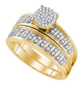 Pricegems 10K Yellow Gold Ladies Round Brilliant Diamond Pave Set Bridal Ring Size: 6.5)