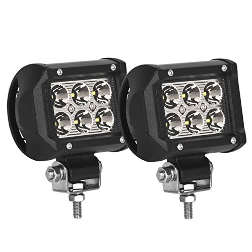 Eyourlife 18w Led Work Light Cree Led 4x4 Off Road Light Bar Pair 4 inch SUV Headlight Spotlight Pods Driving (Stainless Steel Ball Hitch compare prices)