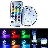 Soondar® 10-LED RGB Submersible LED Light, Multi Color Waterproof Wedding Party Vase Base Floral Light + Romote Controller
