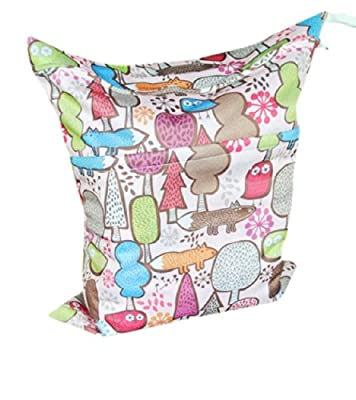 Print Baby Cloth Diaper Waterproof Zippered Wet/Dry Bags, Flowers