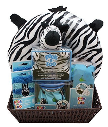 Upper Canada Soap Peek A Zoo Bath And Body Gift Basket For Kids, Blue Zebra front-56120
