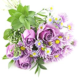 Purple Passion Daisy & Rose Bouquet - Without Vase