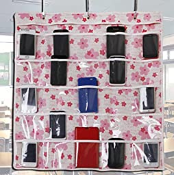 Calculator Holder for Classroom Cell Phone Holder 25 Clear Hanging Pockets with Hooks