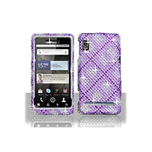 Motorola A955 Droid 2 Full Diamond Graphic Case - Purple Plaid