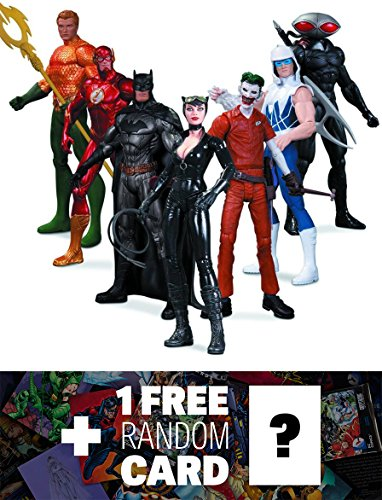 Super Heroes vs Super Villains: DC Collectibles The New 52 7-Action Figure Box Set + 1 FREE Official DC Trading Card Bundle [315447]