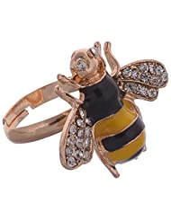 Shining Diva Black Yellow Gold Alloy Rhinestone Material Ring For Women