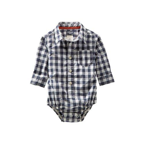 Oshkosh B'Gosh Baby Boys' Plaid Woven Bodysuit (Baby) - Navy - 24 Months