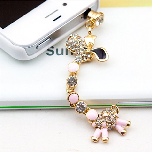 Jade Onlines 3.5Mm Rhinestone Crystal Cellphone Charms Stoppers Earphone Jack Anti Dust Plug Ear Jack Cap ( Cute Giraffe Pendant Style)