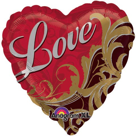 """I Love You with Gold Damask Design with Red Heart Shaped 18"""" Mylar Balloon"""