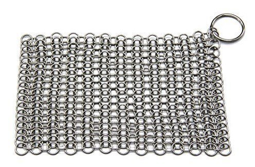 FilterJungle Home Iron Cast Cleaner Chainmail Scrubber Made of Stainless Steel - Large (8