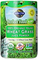 Garden of Life Perfect Food® RAW - 100% Organic Young Wheat Grass Juice Powder, 120g Powder