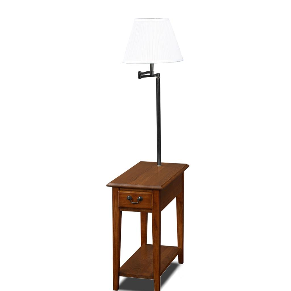 Leick chair side end table medium oak finish for Long narrow side table