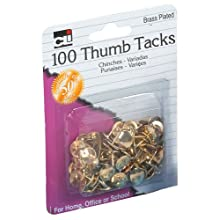 "Charles Leonard Thumb Tacks - 3/8"" Solid HEachd - Brass Plated - 100/Card, 80938"