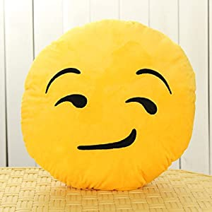 Emoji Smiley Emoticon Yellow Round Cushion Pillow Soft Toy Color:Style