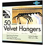 Closet Complete Ultra Thin No Slip Velvet Hangers for Shirts and Dresses, Black, Set of 50 ~ Closet Complete