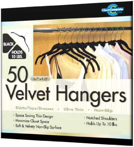 Closet Complete Ultra Thin No Slip Velvet Hangers for Shirts and Dresses, Black, Set of 50