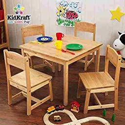 KidKraft - Farmhouse Table and 4 Chairs Set, Natural
