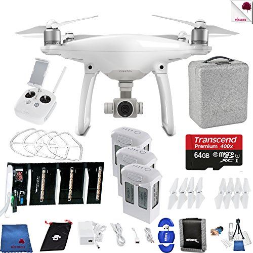 DJI Phantom 4 Ready For Takeoff Bundle Includes: DJI Phantom 4 Drone + 3 Batteries (total) +Charger + 64 GB Memory Card + Controller + Foam Case + More