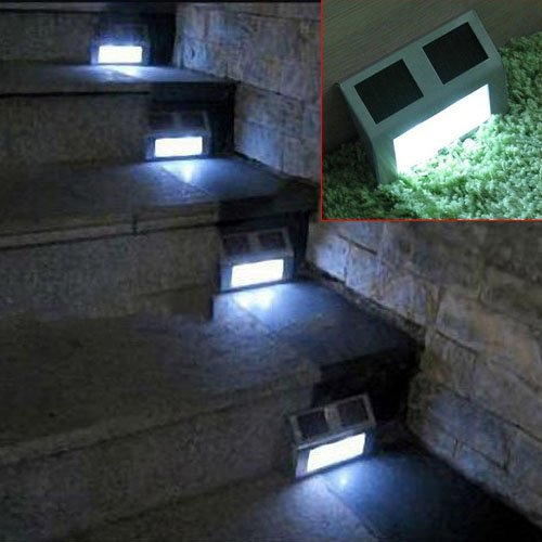 Signswise 4 Pack Solar Powered Stainless Steel 2 LED White Staircase Step Light Stairways Landscape Garden Path Wall Lamp