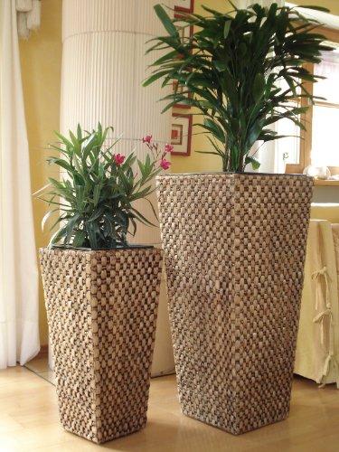 2er Set Wasserhyazinthe Blumenkübel Blumentöpfe Übertöpfe Penang 87/62cm hoch braun