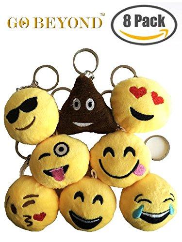 8pcs Emoji Smiley Emoticon Cushion Stuffed Plush Toy Doll KeyChain