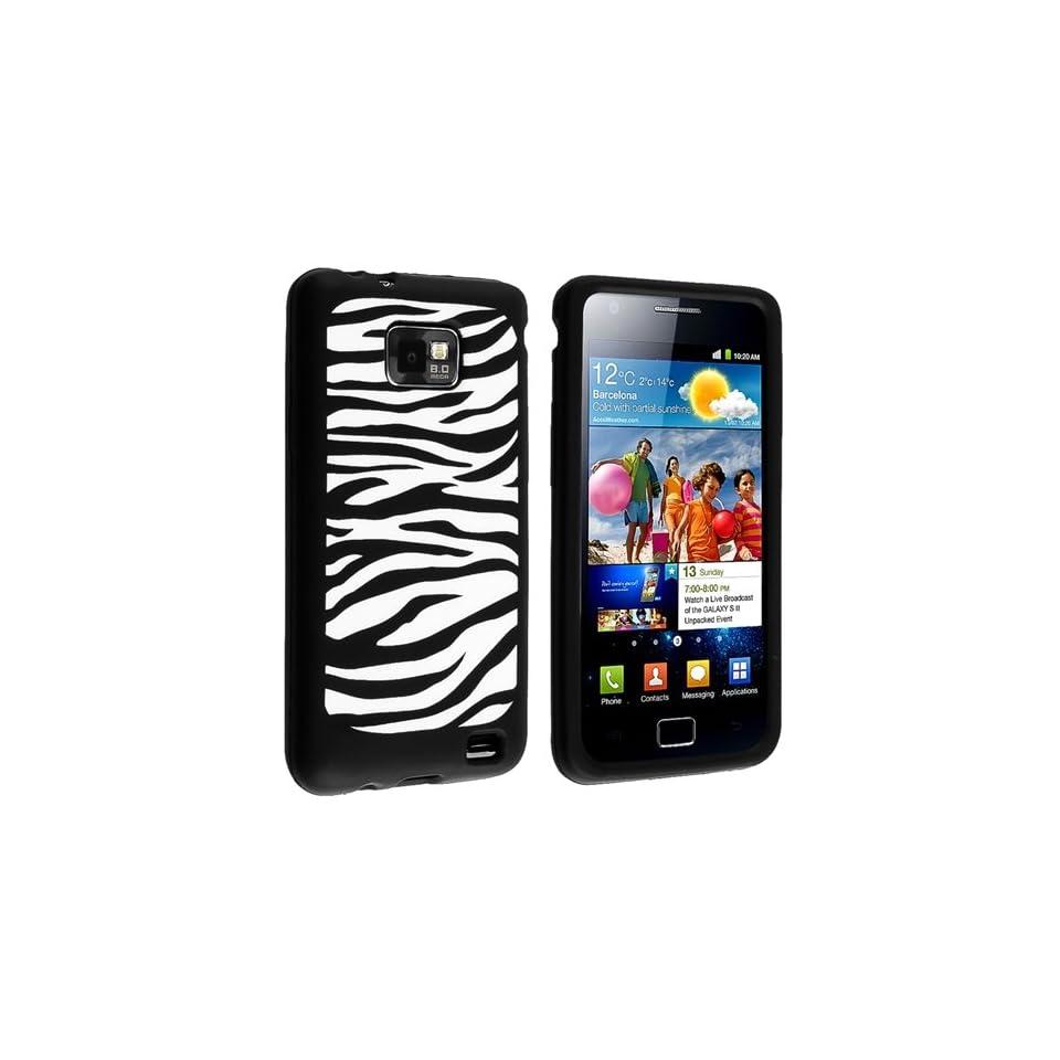 White / Black Zebra Silicone Skin Case + Privacy Screen