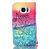 S7 Case, ArtMine Never Stop Dreaming Saying PU Leather Flip Folio Style Wristlet Wallet Pouch Phone Case with Wrist Strap & Credit/ID Card Cash Slot for Samsung Galaxy S7