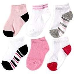 Luvable Friends 6 Pack No-Show Striped Socks, Girl-Striped, 0-6 Months