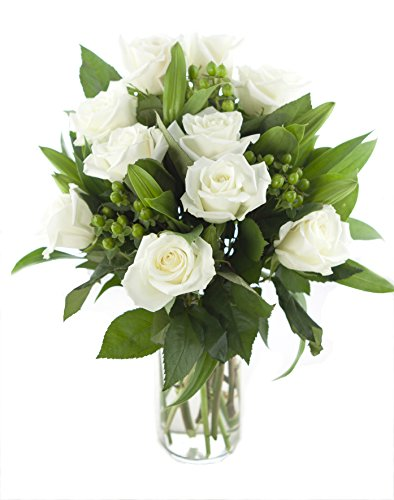 The White Queen Bouquet – The KaBloom Collection Flowers With Vase