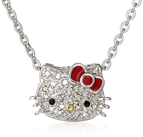 Hello Kitty Sterling Silver 0.10cttw Diamond and Red Enamel Bow Slide Pendant Necklace, 18