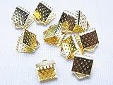 【金具】紐留め (ワニグチ リボン留め レース留め) 6ミリ幅  10個セット (ゴールド、金)
