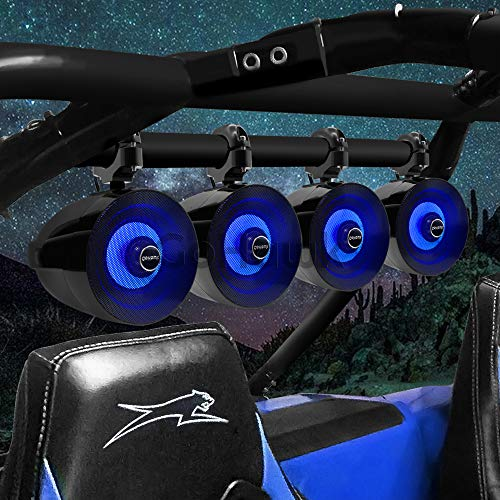 """GoHawk TM5-QX Amplified Bluetooth Controller Waterproof 5"""" LED Full Range Speakers + 2"""" Tweeter, ATV RZR UTV Stereo Audio Amp System, for 1.25 to 2"""" Roll-cage Bar Yamaha Polaris Can-Am, AUX USB"""