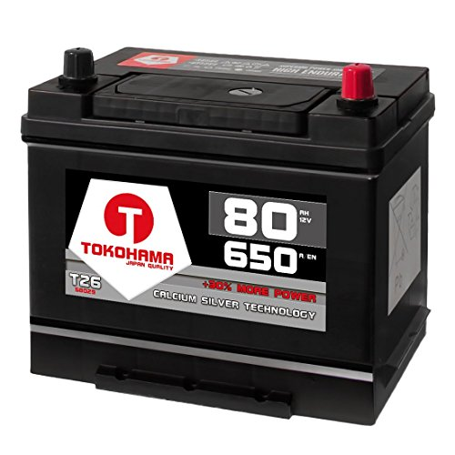 Tokohama-Autobatterie-80Ah-650AEN-Asia-Japan-Starter-Batterie-Plus-Pol-Rechts-ersetzt-70Ah-75Ah-12V