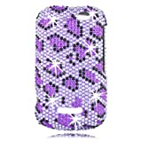 Talon Full Diamond Bling Phone Shell for Motorola i475 - Leopard - Boost Mobile - 1 Pack - Case - Retail Packaging - Purple/Black