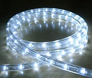 WHITE LED OUTDOOR ROPE LIGHT WITH 8 FUNCTIONS CHASING STATIC ETC IDEAL