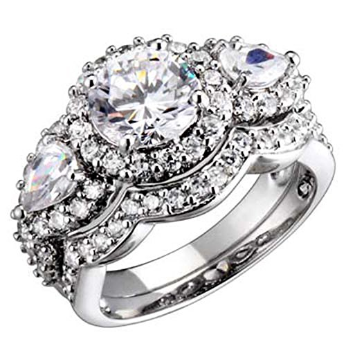 1.9 carat Sterling Silver Three Stone Round/Pear Cubic Zirconia Antique Style Wedding Ring Set