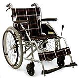 【即日出荷対応】自走介助式 アルミ軽量車椅子 ノーパンク仕様 幅40cm黒チエック色 AA-01b…