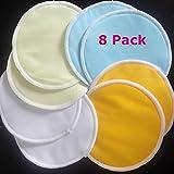 Washable Organic Bamboo Nursing Pads With Bag + Natural Reusable Leak-proof Nursing Pads (8 Pads)