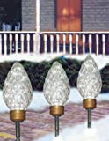 C7 Shaped Lighted LED Christmas Pathway Markers Lawn Stakes - Clear Lights