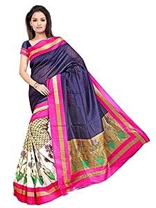 Pick Attire Women's Bhagalpuri Art Silk Saree,With Blouse (PS51-VBK113_Blue)