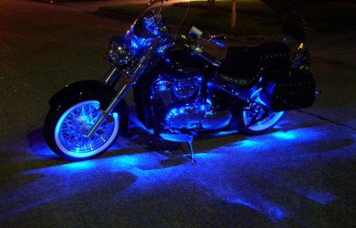 Blue Motorcycle LED Neon Accent Lighting Kit with 10 Chrome LED Light Pods