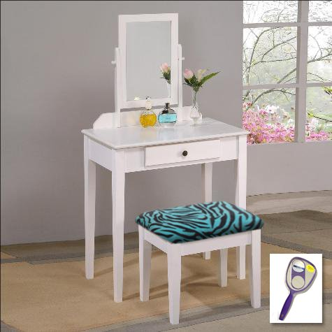New White Finish Make Up Vanity Table with Mirror & Blue Zebra Print Themed Bench