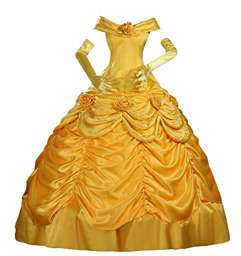 Cosrea Beauty and Beast Belle Classic Satin Adult Cosplay Costume