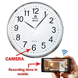 M MHB WiFi Wall Clock Hidden Spy Camera directly seen on your mobile with recording in mobile with high-definition video by WIFI Mobile phone Anytime Anywhere.original brand Sold by M MHB.