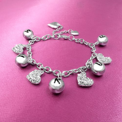 The Saturdays Crystal Heart Charm Bracelet